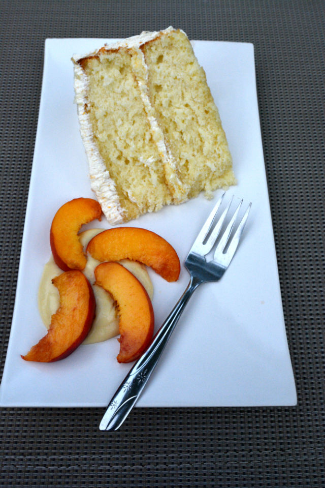 Fresh Peach French Buttercream Above