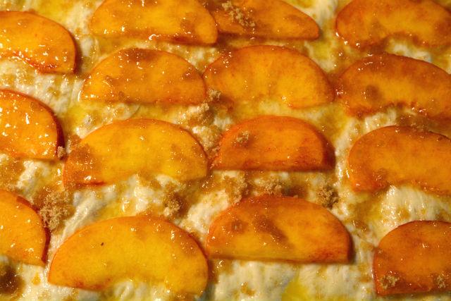 Peach Focaccia Unbaked