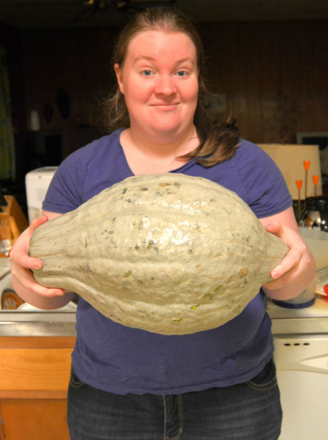 Susie with a Blue Hubbard Squash 1